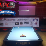 The TV Table with light from Asia LED and the banner with all the sponsors